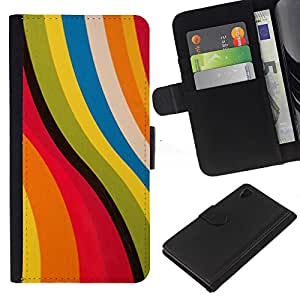Planetar® Modelo colorido cuero carpeta tirón caso cubierta piel Holster Funda protección Para Sony Xperia Z4 / Sony Xperia Z4V / E6508 ( Rosa abstracto amarillo colores en colores pastel)