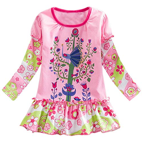 Toddler Baby Girls Princess Dress Clothes 2-7 Years Old Kid Long Sleeve Elephant Dot Print Patchwork Ruched Dress (6-7 Years Old, Pink)