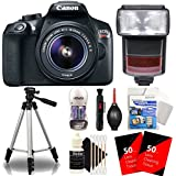 Canon EOS Rebel T6 18MP DSLR Camera + Speedlite TTL Flash + 18-55mm Lens + Lens Pen + Dust Blower + Reachargeable Battery + 100 Lens Tissue + Universal Protector + Tall Tripod + 3pc Cleaning Kit