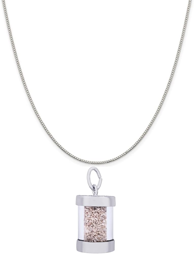 Rembrandt Charms Two-Tone Sterling Silver Grand Cayman Charm on a Sterling Silver 16 Box or Curb Chain Necklace 18 or 20 inch Rope
