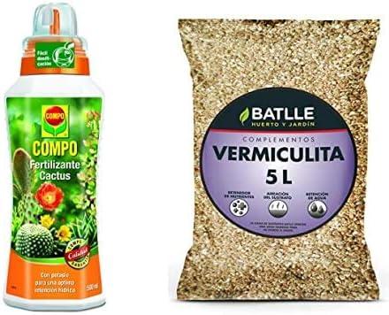Compo Cactus, Plantas crasas y suculentas, Fertilizante líquido con Extra de potasio, 500 ml, 23x7x6.3 cm, 2140902011 + Semillas Batlle Sustratos Vermiculita 5L