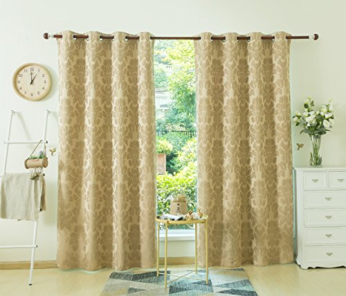 Allbright Pattern Blackout Curtain Drapes with Waterproof Coating Back Layer For Kitchen Room 52x 84 Inch New Wheat,1 Panel