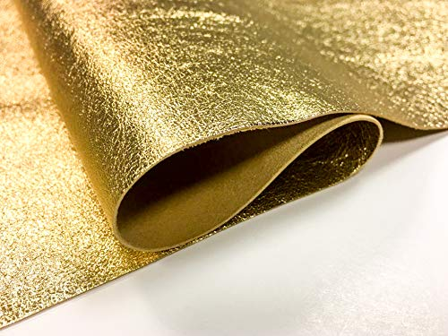 - Genuine Leather Metallic Leather Fabric: 1 Pure Gold Leather Sheet for Leathercrafts-12x24In/30x60cm