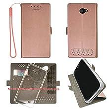 "Case for Unimax Umx U683CL U505TL Ans L51 Assurance Wireless 5"" Case TPU Soft + Flip Cover Stand Shell Pink"
