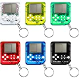 6 Pieces Brick Game Console Keychain Mini Brick Game Toy Keychain Classical Portable Game Console with Hanging Chain Birthday Festival Party Favor