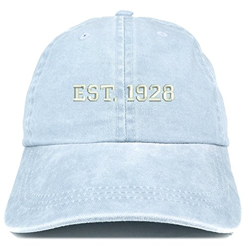 Trendy Apparel Shop EST 1928 Embroidered - 91st Birthday Gift Pigment Dyed Washed Cap - Light Blue