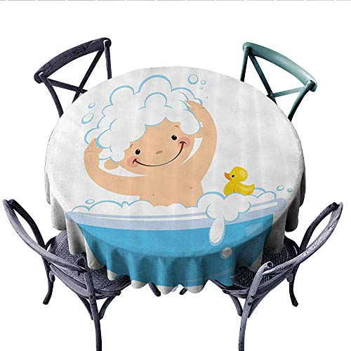 Nursery Decor Collection Customized Round Tablecloth Baby Boy with Smiley Face Having Bubble Bath in Bathtub with Rubber Duck Kids Decor Art Waterproof Circle Tablecloths (Round, 70 Inch, White Blue) -
