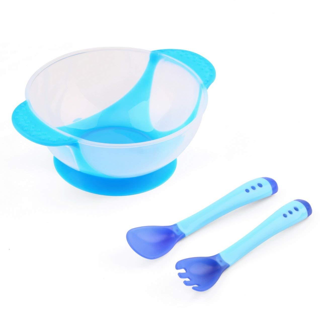 ESjasnyfall azul Juego de vajilla antideslizante para lactantes Bol infantil con ventosa y ventosa con cuchara sensora de temperatura Baby Bowl