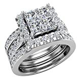 Princess Cut Quad Halo Double Band Wedding Ring Set 2.90 Carat Total Weight 14K White Gold: more info