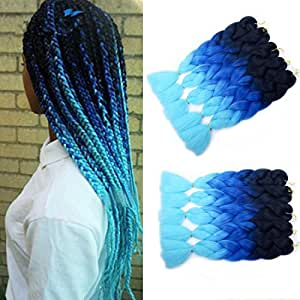 MSHAIR Ombre Jumbo Braiding Hair Extension Synthetic Kanekalon Fiber for Twist Braiding Hair Black/Blue/Light Blue Color 24 Inch 5 Pieces/lot