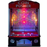 Mini Arcade Machine - Electronic Coin Pusher with Lights & Sounds - Works with Real Pennies or 300 Included Plastic Coins