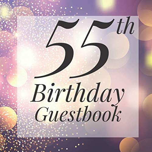 55th Birthday Guestbook: Purple Gold Sparkle Bokeh Guest Book  - Elegant 55 Birthday Wedding Anniversary Party Signing Message Book - Gift Log & Photo ... Keepsake Present - Special Memories Ideas