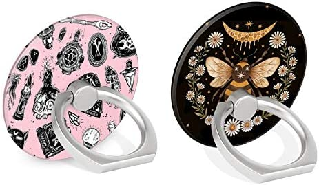 Two Pack Phone Ring Holder Stand Kickstand Bracket for Smartphones Tablets Pads Pink Ouija and Honeybee Pattern