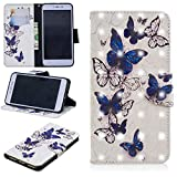 Ostop Xiaomi Redmi Note 5A Wallet Case,3D Cute Printed Pattern Leather Case Kickstand Card Holder Magnetic Flip Folio Cover,Blue Transparent Butterfly White PU
