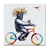 FLY SPARY 1 Panel 100% Hand Painted Framed Oil Paintings Canvas Wall Art Colorful Gorilla Monkey with Garland Biking Funny Animal Modern Abstract Artwork for Living Room Bedroom Office Home Decor