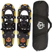 "ENKEEO All Terrain Snowshoes Lightweight Aluminum Alloy Snow Shoes Carry Bag Adjustable Ratchet Bindings, 80/120/160/210 lbs. Capacity, 18""/21""/25""/30"""