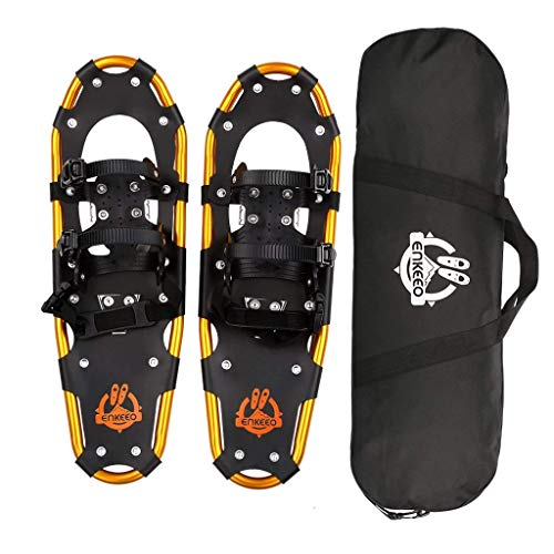 ENKEEO All Terrain Snowshoes Lightweight Aluminum Alloy Snow Shoes with Carry Bag and Adjustable Ratchet Bindings, 80 120 160 210 lbs. Capacity, 18 21 25 30