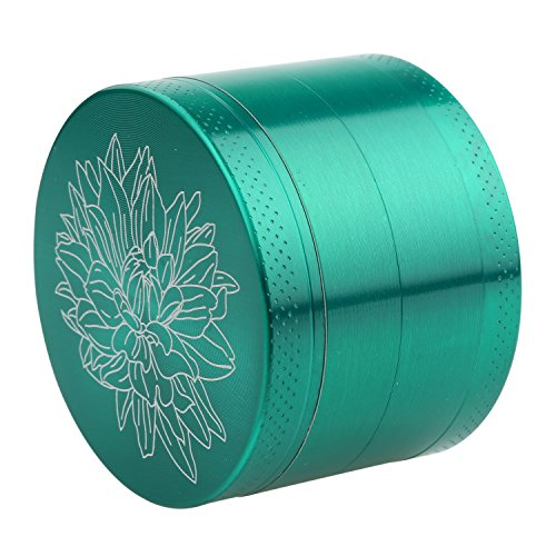 DCOU New Design Premium Zinc Alloy Herb Tobacco Grinder 2.2 Inches 4 Piece Metal Grinder with Pollen Catcher with Laser Flower Pattern Green by DCOU (Image #1)