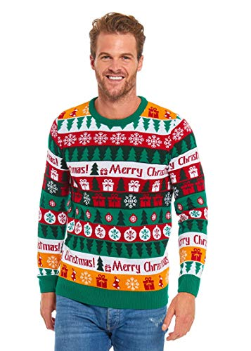 Men's Ugly Knit Winter Sweater Funny Xmas Tree Gift Pullover - Colour me Knit Winter, Medium]()