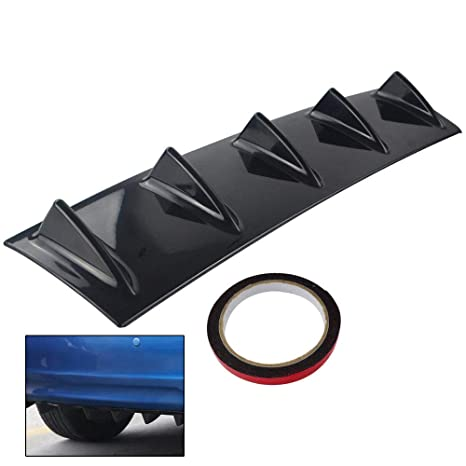 K KARL Rear Bumper Lip Diffuser ABS Universal with 7 Shark Fin Carbon Fiber Large