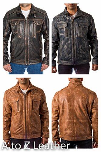 Homme Noir MillŽsime de motard vieilli en cuir souple Veste avec brun Rub Effect