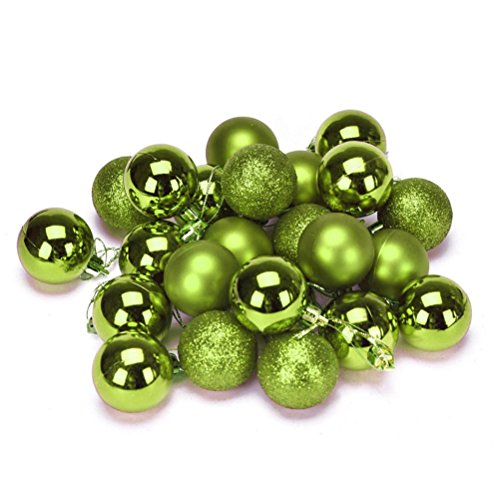 (ELaco 24pcs Christmas Balls Ornaments Xmas Trees Wedding Parties Mini Tree Decorations (Green))