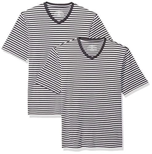 Amazon Essentials Men's Loose-Fit Short-Sleeve Stripe V-Neck T-Shirts, Black/White, X-Large