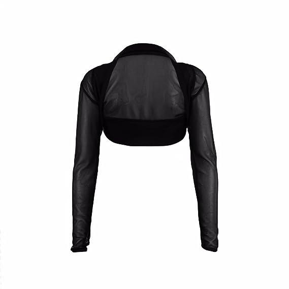 Fast Fashion - Blusa tipo bolero para mujer, manga larga, abierta por delante,