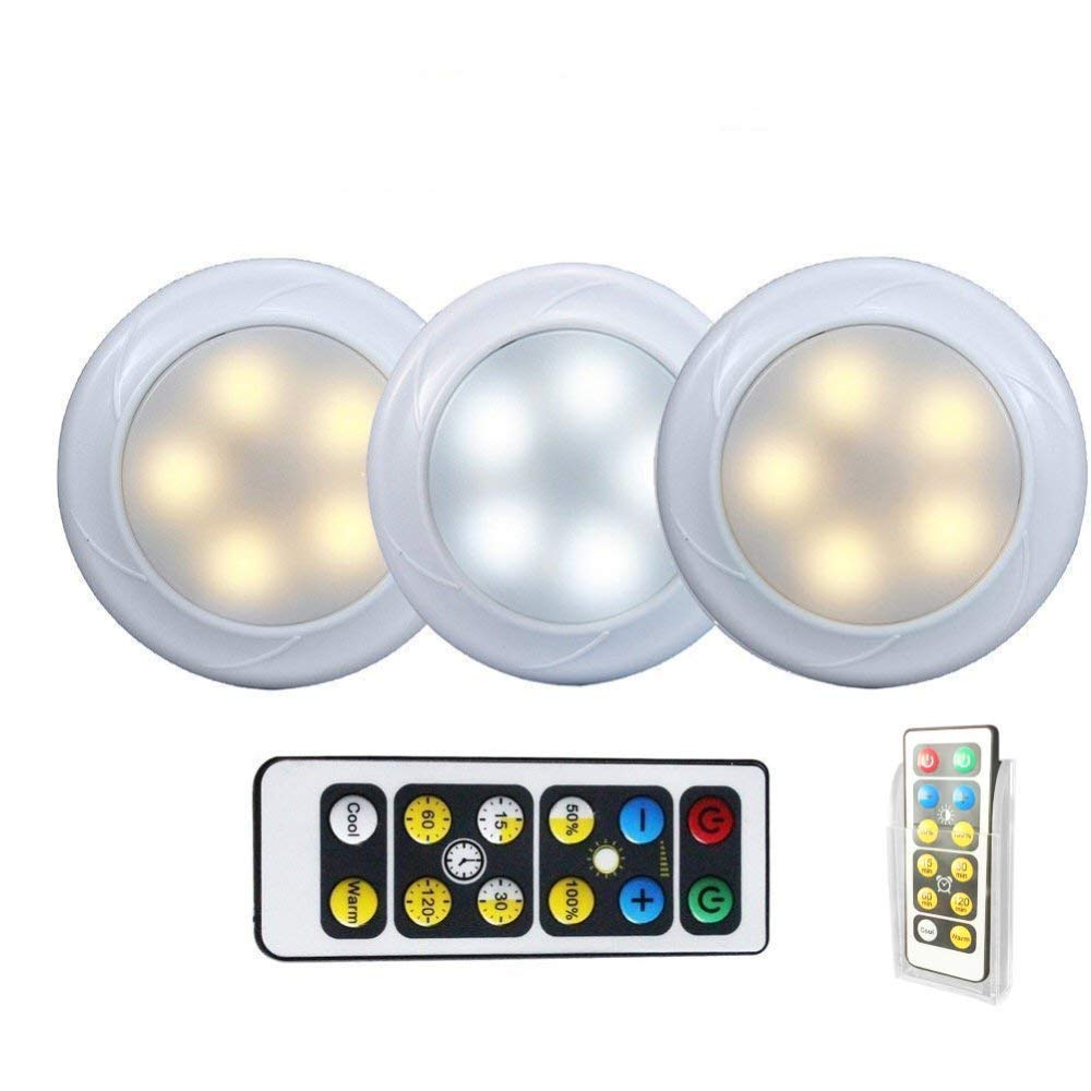 KennellCo Wireless LED Puck light with Remote Control Holder 3 Pack, Under Cabinet Lighting, Touch Activated, Function Tap Light, Cool White/Warm White Light, Button Switch, Color Changing Lights