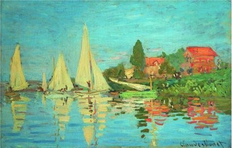 'The Regatta At Argenteuil 1872 By Claude Monet' Oil Painting, 16x25 Inch / 41x63 Cm ,printed On Perfect Effect Canvas ,this Vivid Art Decorative Canvas Prints Is Perfectly Suitalbe For Powder Room Decoration And Home Decoration And Gifts