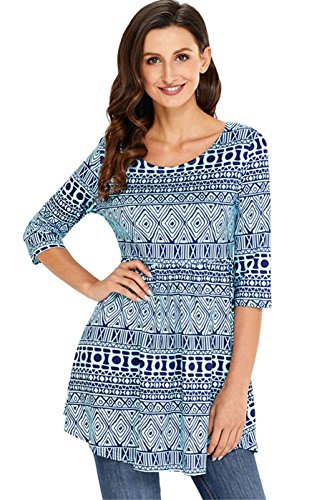 3/4 Sleeve Pleated Blouse Shirt T-Shirt Peplum Tunic Top Mini A-Line Dress Blue Geometric Abstract Tribal Ornate Printed M