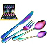 MAGICPRO Flatware Set, Modern Royal 24-Pieces rainbow gold Stainless Steel Flatware for Wedding Festival Christmas Party, Service For 6