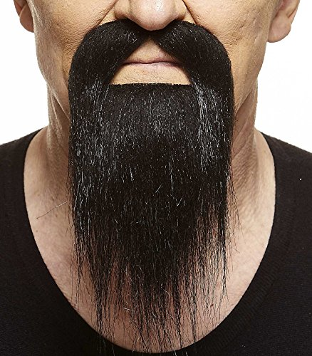 Mustaches Self Adhesive, Novelty, Long Ducktail Fake Beard, False Facial Hair, Costume Accessory for Adults, Black ()