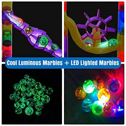 Gouso 166Pcs Glowing Marble Run for Kids - Marble Maze & Building Block Brain Game STEM Toys Super Fun Gifts for Kids, Boys, Girls Age 3 to 12 (16 Glow in The Dark Marbles + 20 Glass Marbles)