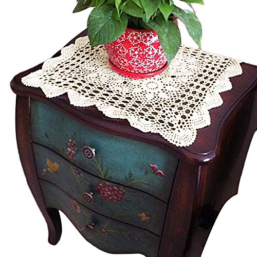 yazi Tablecloths Crochet Square Table Cover Lace Table Covering Doilies for Furniture Décor Beige Color 15.7inch]()