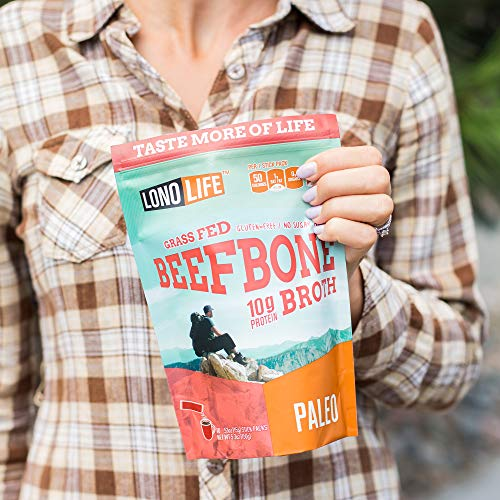 LonoLife Grass-Fed Beef Bone Broth Powder with 10g Protein, Stick Packs, 10 Count