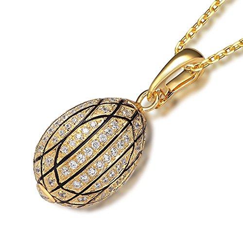 En argent sterling 925collier avec pendentif œuf de zircons 45,7cm