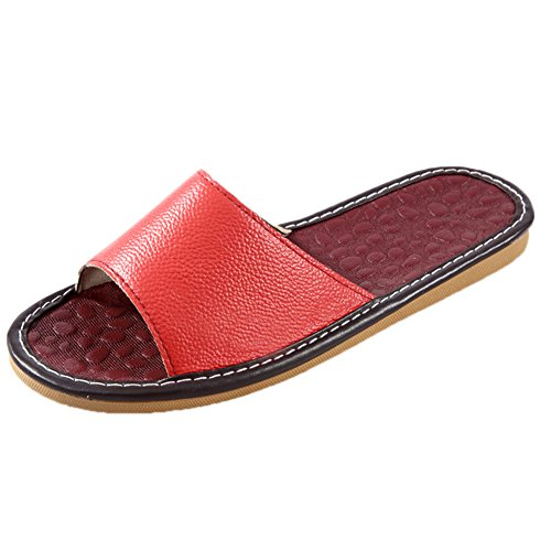 Leather Women Summer Wooden Corium Smelly Anti Men Floor for Slippers Cowhide Spring TELLW Autumn OXqwRfRU