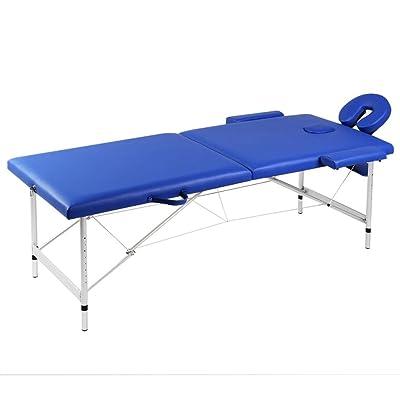 Table de Massage Pliante 2 Zones Bleu Cadre en Aluminium et Taille de table: 186 x 68 cm (L x l)