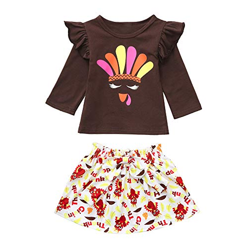 Clearence!!Toddler Children Baby Girl Skirt Set Long Sleeves Turkey Thanksgiving Ruffle Shirt Tops Skirt Clothes Sets Outfit (Age:6-12 Months, Brown) -