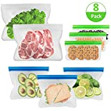 Reusable Storage Bags 8 Pack Resuable Sandwich Bags Snack Bags Leakproof Freezer Ziplock Bags Eco Friendly for Food, Kids, Travel, Home Organization (3Sandwich Bags+3 Snack Bags+2 Meat Vegetable Bags)