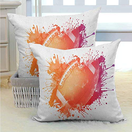 Sports Throw Pillow Covers Rugby Ball in Digital Watercolors Splash Recreational Leisure Sports Run Design Modern Design Fashion Patterns for Room Bedroom Room Sofa Chair Car 2PCS Orange Red -