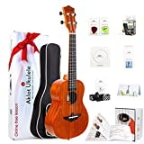 AKLOT Concert Ukulele Solid Mahogany Ukelele 23 inch Beginners Starter Kit with Free Online Courses and Ukulele Accessories (AKC23)