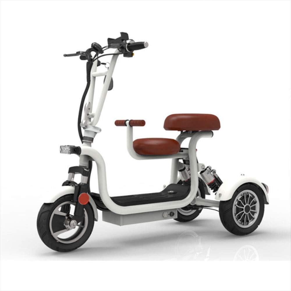 Tengda Scooter eléctrico de Bicicletas, 48V Plegable Adulto Triciclo de Litio tranvía Señora Mini pequeño Triciclo Nueva Vespa Conveniente para los Deportes al Aire Libre (8A),Blanco,13A