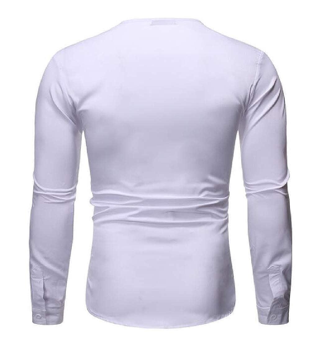 YYG Mens Long Sleeve V-Neck Plain Casual Regular Fit T-Shirt Tee Top