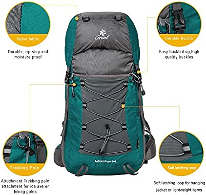 Amazon.com: Coreal, mochila de senderismo de 50L, para ...