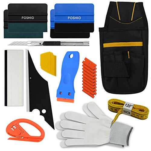FOSHIO Vehicle Vinyl Wrapping Application Tool Kit for Car Window Tint Film Installing include Tool Bag, Zippy Cutter, Magnet Tape, Razor Scraper, Art knife, Squeegees and Gloves ()