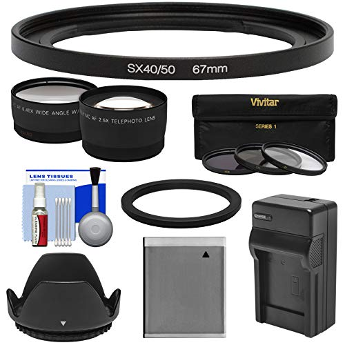 (Bower FA-DC67A Adapter Ring (67mm) with Battery & Charger + Tele & Wide Lens Kit for Canon PowerShot SX530 & SX540 HS Cameras)