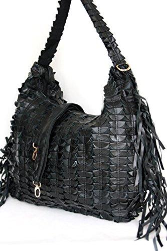 Shopper in pelle XXL con frangia, borsa a tracolla / a secchiello DIN A4 cartella adatta (50 / 30 / 12) in nero, Italia