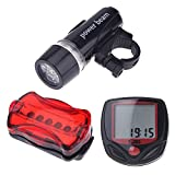 Set of Wired Bicycle Computer Odometer Speedometer LCD 14 Functions + Ultra Bright 5 LED Bike Front Head Light & 5 LED Rear Flashlight